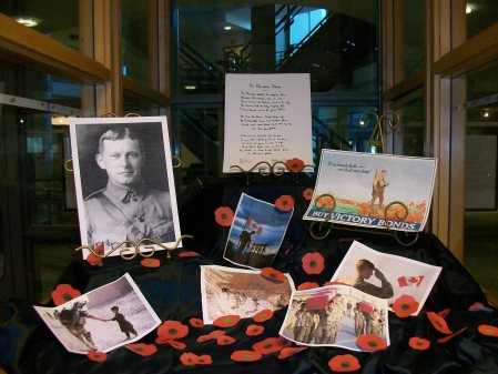 Display at Library@IAHS for Remembrance Day